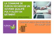 Offre d'emploi : ouvrier qualifié polyvalent (orientation menuiserie)